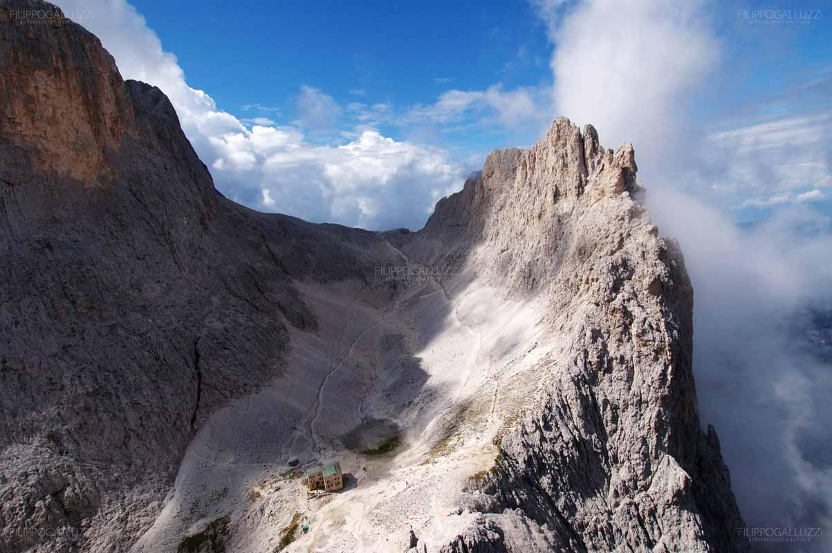 Val di Fassa, Dolomiti, la croda di Re Laurino dalle torri del Vajolet