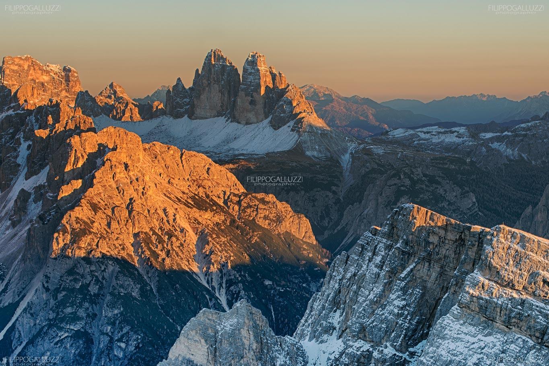 Il tramonto sulle tre Cime di Lavaredo, Alta Pusteria