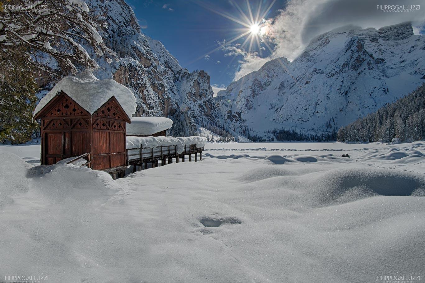 Sudtirol, il lago di Braies in un fantastico inverno , Alta Pusteria