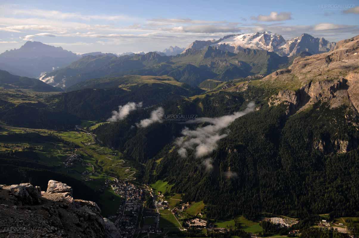 Vista sulle Dolomiti dal monte Sassongher, Corvara, Alta Badia