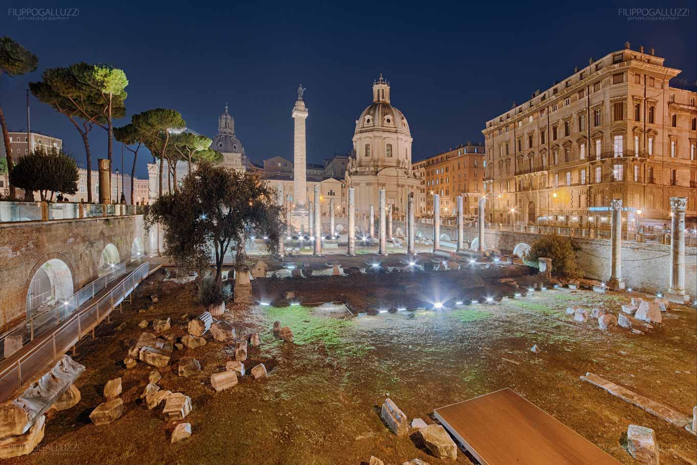 Roma, fotografia notturna fori Imperiali